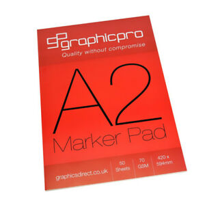 GraphicPro A2 Bleedproof White Marker Pad 50 Sheets 70gsm