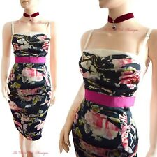 DOLCE & GABBANA D&G vintage 1990s floral pink silk DRESS size UK 10 US 6 I 42