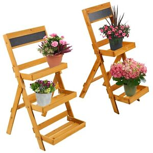 2 or 3 Layer Folding Wooden Flower Garden Plant Pot Shelf Rack Display