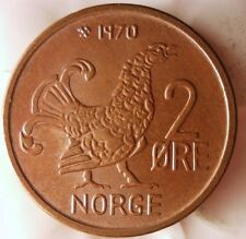 1970 NORWAY 2 ORE - AU - Grouse Coin - FREE SHIPPING - Norway Bin #2