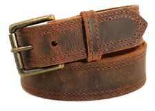 "Men's Genuine Dist Brown leather casual/work belt 11/2""   Amish crafted"
