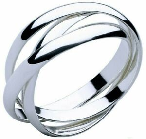 Silver Ring 925 Sterling Filled Solid Trinity Russian Wedding interlocked Band