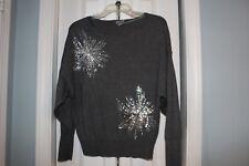 Worthington womens sweater gray SEQUINS starburst batwing size M ec