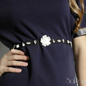 Cintura Nera stringivita Elegante Donna Madreperla Strass Gioiello Fiore Bianco