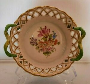 Carl Thieme Dresden Pot Pourrie Reticulated Basket Bowl Container