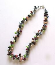 Freshwater Pearl Necklace -oval pearls green blue pink purple-seed beads- 19""