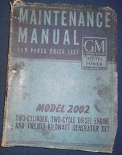 GMC GM MODEL 2002 2 CYLINDER 2 CYCLE 20KW GEN ENGINE MAINTENANCE SERVICE MANUAL