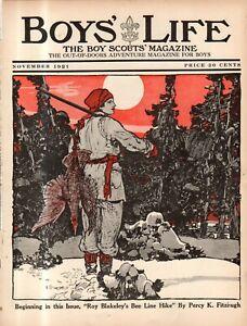 1921 Boys' Life November - Charles Livingston Bull Cock Fighting; Snowshoes
