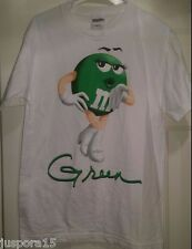"M&M's Unisex White/Green/Brown/Black ""Green M&M"" T-Shirt Size M"