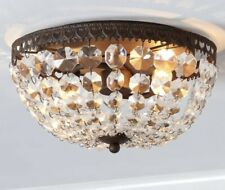 Pottery Barn Mia Faceted Crystal Flushmount Ceiling Light Fixture-Antique Bronze