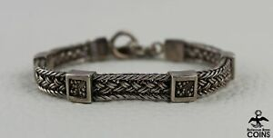 Lois Hill Sterling Silver (.925) Woven Mesh Chain w/Toggle Bar Bracelet