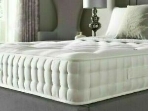 Orthopeadic Quilted Memory Foam Sprung Mattress 3ft single Double King White 4ft