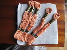 mercerie ancienne 5 échevettes coton à broder mouliné saumon 758 DMC point croix