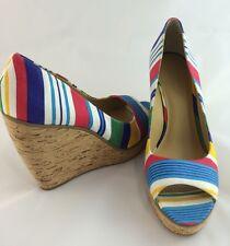 NINE WEST Multicolors Striped Textile Peep Toe Cork Wedge Heels 9M