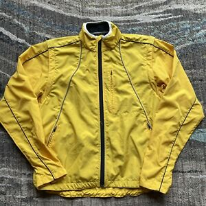 Men's Pearl Izumi Yellow Cycling Convertible Windbreaker Vest Jacket Sz Large