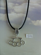 """A knuckle duster Tibetan Silver Charm, Long ( 30"""" ) Black Cord Chain Necklace"""