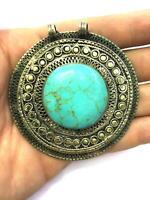 Afghan Turquoise Round Inlay Pendant Alpaca Silver Ethnic Gemstone Tribal Gypsy