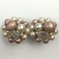Vintage Faux Pearl Blush Tone Beaded Cluster Clip On Earrings Japan AB