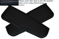 BLUE STITCHING FITS DAIHATSU COPEN 2003+ 2X SUN VISORS LEATHER COVERS ONLY