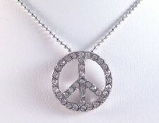 Gorgeous New Rhinestone Peace Sign Necklace Loaded With Genuine Crystals #N2234