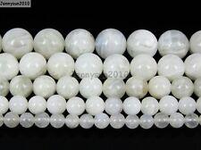 "Натуральный белый лунный камень драгоценный камень круглые бусины 15.5"" 4 мм 6 мм 8 мм 10 мм 12 мм 14 мм"