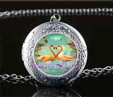 Flamingo Bird Love Photo Cabochon Glass Tibet Silver Locket Pendant Necklace