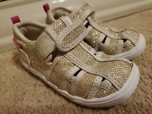 Stride Rite Toddler Girl's Gold Glitter Sparkle Shoes, Size 8T