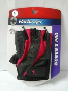 Harbinger Women's Pro Weight Lifting Leather Gloves Black/Pink M Style 14920  -4