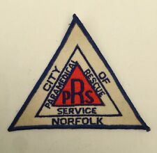 City of Norfolk Paramedical Rescue Service, old cheesecloth shoulder patch