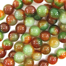 "18mm brown green agate round beads 7.5"" strand"