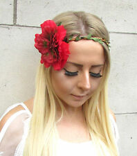 Large Red Green Peony Flower Headband Hair Crown Festival Garland Rose Big 1547