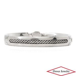 DAVID YURMAN Sterling Silver Textured Cable Bangle Bracelet 47.1 Grams NR