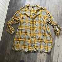Lane Bryant | Yellow Grey Plaid Tunic Top Womens 18/20
