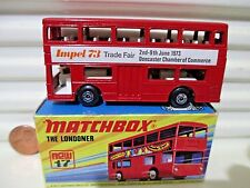 "Lesney Matchbox MB17B 1973 ""The Londoner"" Red IMPEL 73 Bus Unpainted Base MntBxd"