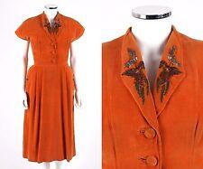 Vtg c.1940's Orange Velvet Floral Beaded Short Sleeve Button Up Day Dress OOAK