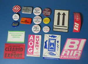 Lot of Vintage Original Braniff Airlines Pin Back Buttons and Labels