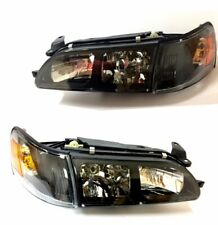 Fit For 93 97 Toyota Corolla DX Black Headlights Lamps LH RH Headlamps