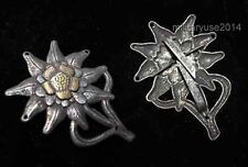 WWII German Army Officer EM Edelweiss Mountain Military Metal Cap Badge Insignia