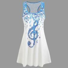 Ladies Bandages Sleeveless Vest Top Musical Notes Print Strappy Tank Tops Shirts White 2xl