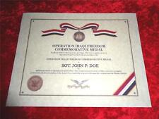 OPERATION IRAQI FREEDOM COMMEMORATIVE CERTIFICATE ON 24 LB PARCHMENT PAPER