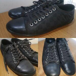 Louis Vuitton Mens Damier Graphite Sneakers Nylon and Leather Baseball Low EU 45
