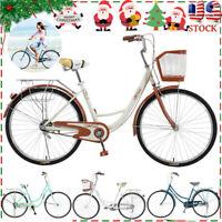 26in Women Classic Bikes Beach Cruiser Bike Retro Bicycle City Cycling Girl Gift