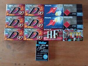 Thirteen sealed blank cassette tapes - TDK, Philips, Sony, Maxell, Vivitar