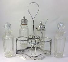 Georgian hallmarked Sterling Silver Cruet Stand & Later Condiment Bottles – 1805