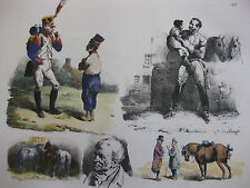Lithographie ancienne originale H Bellangé costumes romantisme soldats
