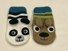 GYMBOREE *SKI SCHOOL* PANDA AND BEAR BOYS MITTENS SIZE 4T-5T