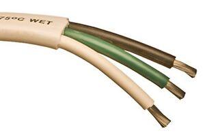 100' Bare Copper White Jacket 6/3 Triplex Black/Green/White Boat Cable USA