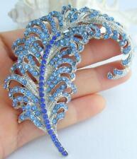"Leaf Feather Brooch Pin Pendant 05065C2 Art Style 3.35"" Blue Rhinestone Crystal"