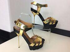 Kurt Geiger KG London High Heels, Uk 6 Eu39, Gold Black, Strapped, Vgc