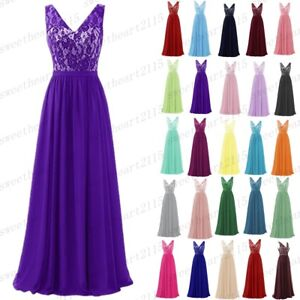 Lace/Long Formal Wedding Evening Ball Gown Party Prom Bridesmaid Dress Size 6-28